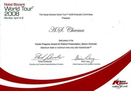 2nd Prize for Best Compuer Guided Dental Implant Case In World Tour 2008